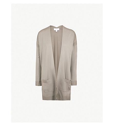 THE WHITE COMPANY Open-front wool cardigan (Khaki