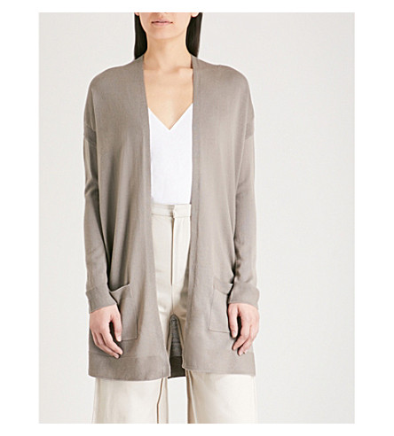 THE WHITE COMPANY Open-front wool cardigan (Khaki