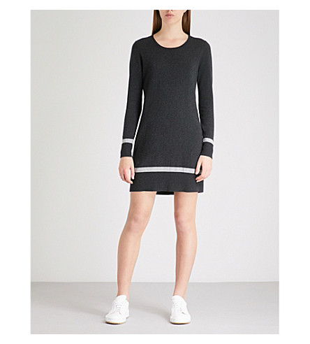 THE WHITE COMPANY Striped knitted tunic dress (Darkcharcmarl