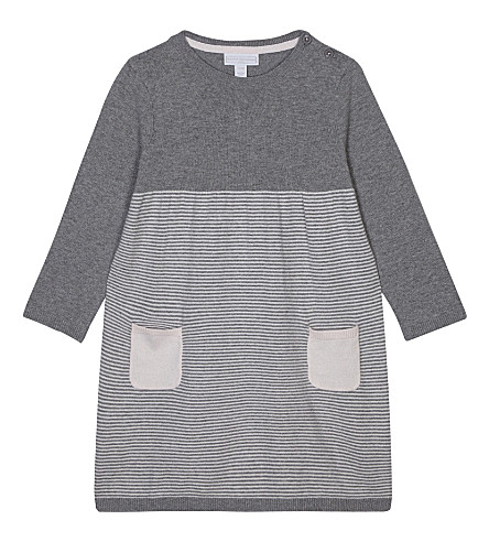 THE LITTLE WHITE COMPANY Striped knitted dress 1-6 years (Pink