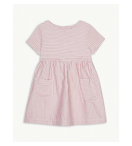 THE LITTLE WHITE COMPANY Striped cotton dress 1-6 years (Pink