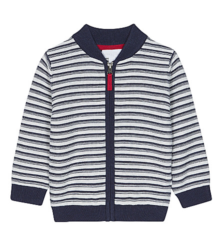 THE LITTLE WHITE COMPANY Striped zip-through cotton jumper 1-6 years (Multi