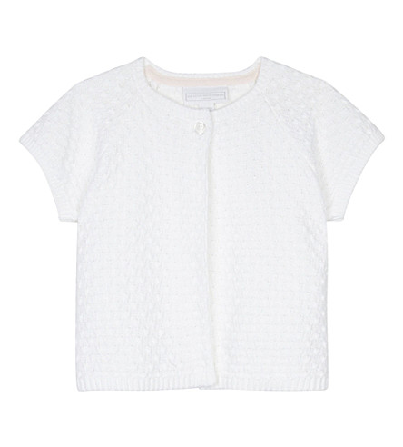 THE LITTLE WHITE COMPANY Short sleeved stitch detail cotton cardigan 0-24 months (White