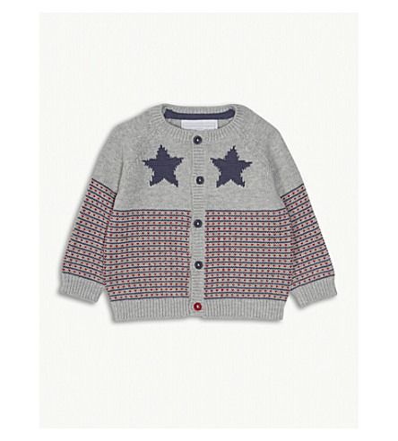 THE LITTLE WHITE COMPANY Star and heart print cotton cardigan 0-24 months (Silvergreymarl