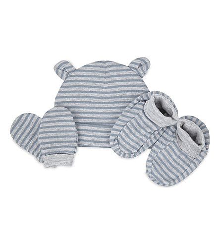 THE LITTLE WHITE COMPANY Striped cotton hat mitts and booties set 0-12 months (Blue/grey