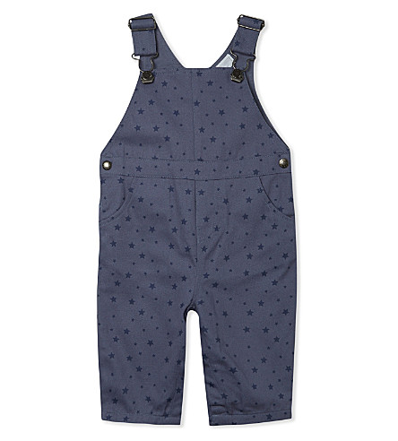 THE LITTLE WHITE COMPANY Star print cotton dungarees 0-24 months (Blue