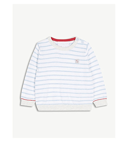 THE LITTLE WHITE COMPANY Anchor striped cotton jumper 0-24 months (Cashmere+blue