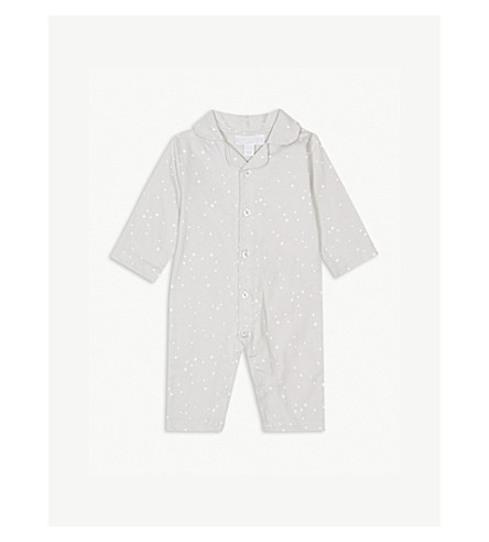 THE LITTLE WHITE COMPANY Star print cotton sleep suit 0-24 months (Grey