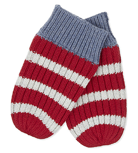 THE LITTLE WHITE COMPANY Striped cotton mittens 0-24 months
