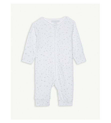 THE LITTLE WHITE COMPANY Stars and moon print cotton zip sleepsuit 0-24 months (White