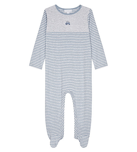 THE LITTLE WHITE COMPANY Striped tractor cotton babygrow 0-24 months (Grey+marl
