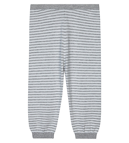 THE LITTLE WHITE COMPANY Striped cotton jogging bottoms 0-24 months (Soft+grey