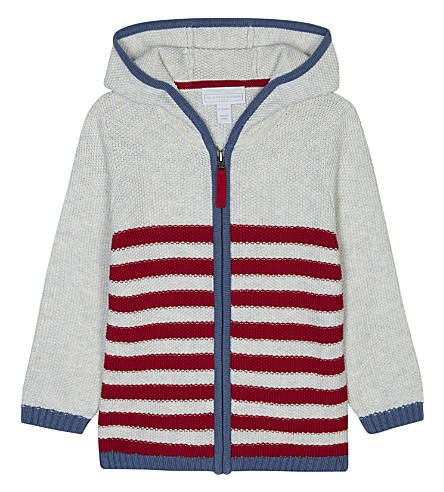 THE LITTLE WHITE COMPANY Striped zipped cotton hoody 0-24 months (Ecru