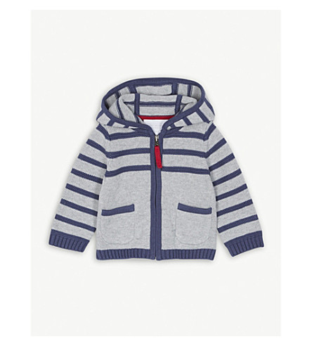 THE LITTLE WHITE COMPANY Striped knitted cotton hoody 0-24 months (Silvergreymarl