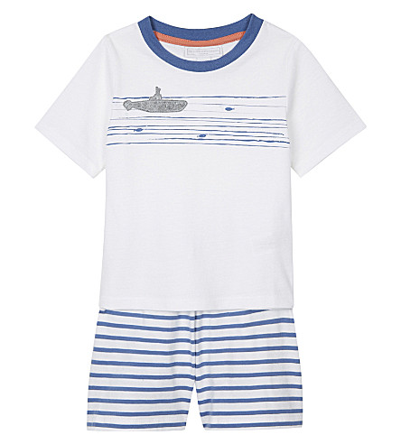 THE LITTLE WHITE COMPANY Appliquéd submarine cotton pyjamas 1-6 years (White