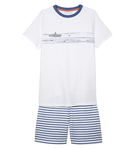THE LITTLE WHITE COMPANY Appliquéd submarine cotton pyjamas 6-12 years (White