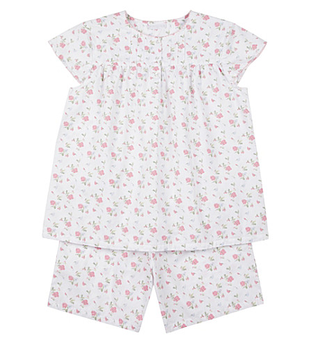 THE LITTLE WHITE COMPANY Summer Sweetpea cotton pyjamas 6-12 years (White