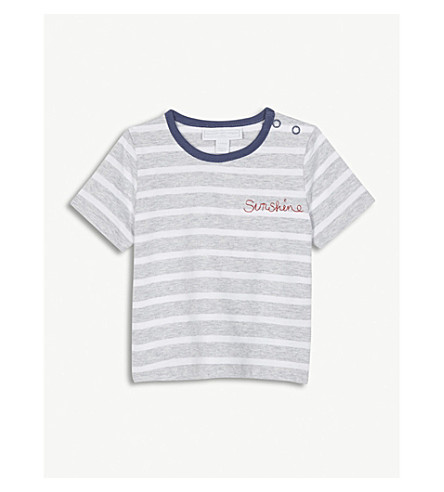THE LITTLE WHITE COMPANY Sunshine striped cotton T-shirt 0-24 months (Grey marl