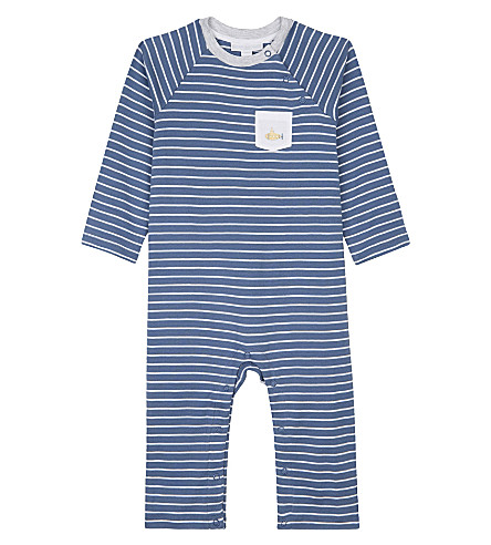 THE LITTLE WHITE COMPANY Stripe submarine cotton baby-grow newborn-24 months (Multi