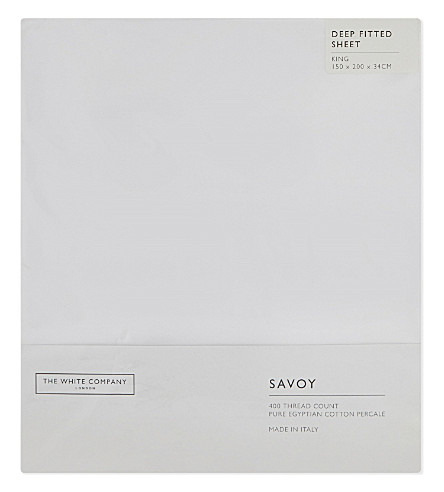 THE WHITE COMPANY Savoy Egyptian cotton king-size deep fitted sheet (White