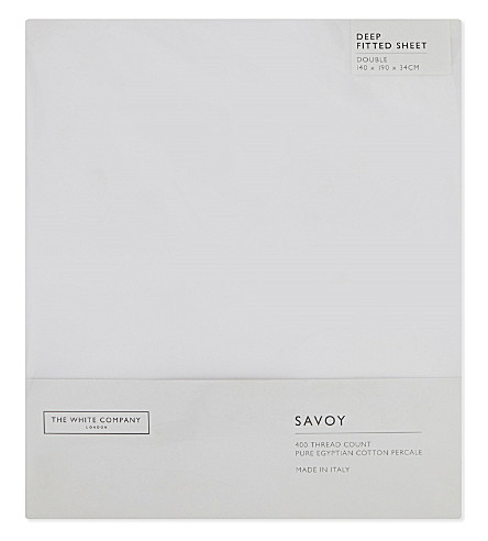 THE WHITE COMPANY Savoy Egyptian cotton double deep fitted sheet (White