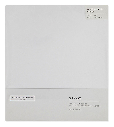 THE WHITE COMPANY Savoy Egyptian cotton super-king deep fitted sheet (White