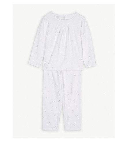 THE LITTLE WHITE COMPANY Star-print velour pyjamas 1-6 years (White