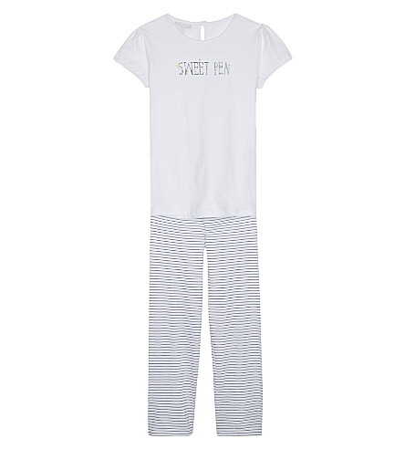 THE LITTLE WHITE COMPANY Sweetpea embroidered cotton pyjamas 6-12 years (White