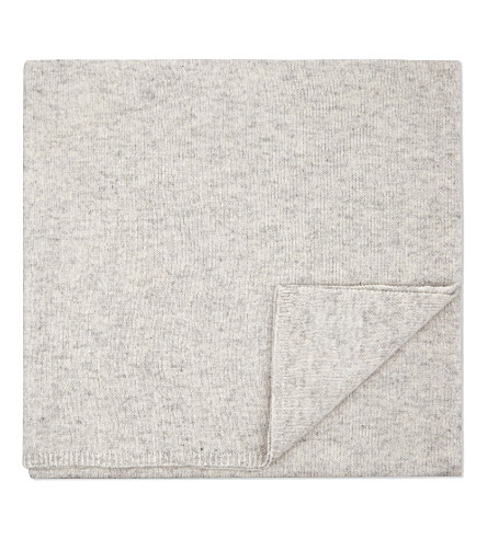 THE LITTLE WHITE COMPANY Star cashmere baby blanket (Pale+grey+marl