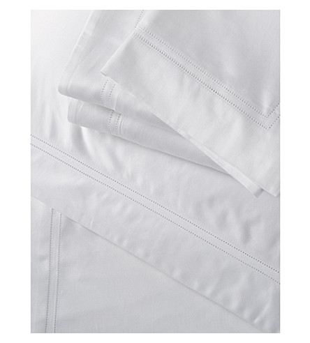 THE WHITE COMPANY Symons picot cotton fitted sheet (White