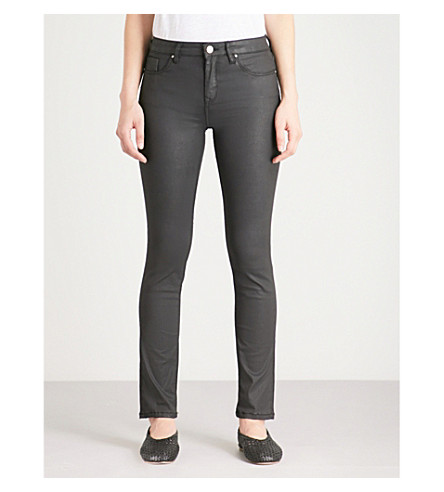 THE WHITE COMPANY Symons skinny mid-rise faux-leather jeans (Black