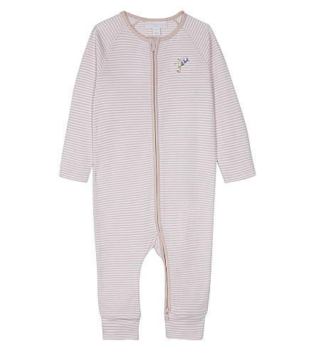 THE LITTLE WHITE COMPANY Striped cotton sleep suit 0-18 months (Pink
