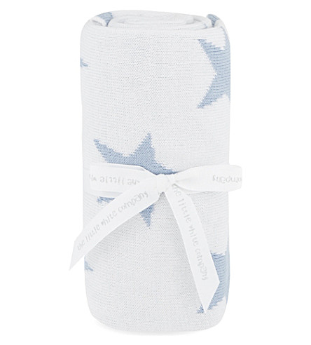 THE LITTLE WHITE COMPANY Reversible star-pattern baby blanket (Baby+blue