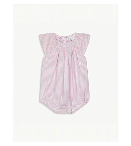 THE LITTLE WHITE COMPANY Pinstripe cotton bodysuit 0-24 months (Pink