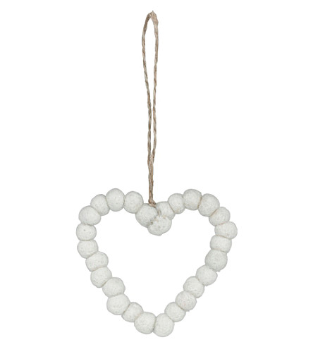 THE WHITE COMPANY Felt bobble heart decoration (White
