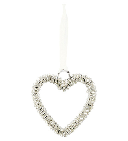 THE WHITE COMPANY Mini silver beaded hearts set of six (Silver