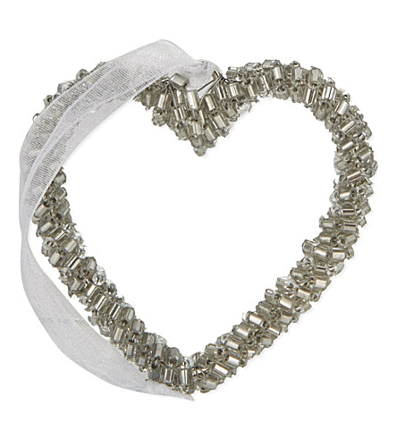 THE WHITE COMPANY Beaded heart decoration 5.5cm (Silver