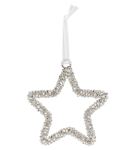 THE WHITE COMPANY Beaded star small hanging ornament (Silver