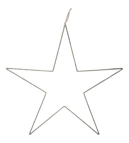 THE WHITE COMPANY Beaded star hanging ornament 100cm (Silver