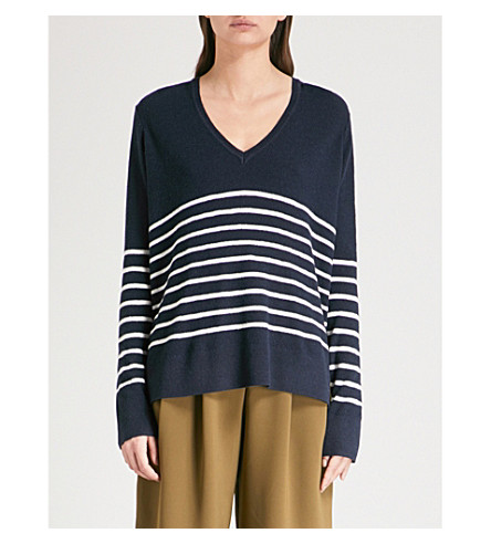 THE WHITE COMPANY Striped knitted jumper (Navy