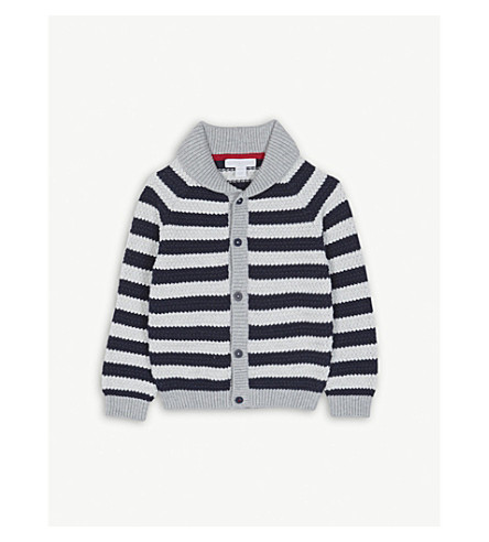 THE LITTLE WHITE COMPANY Striped knitted wool cardigan 1-6 years (Multi