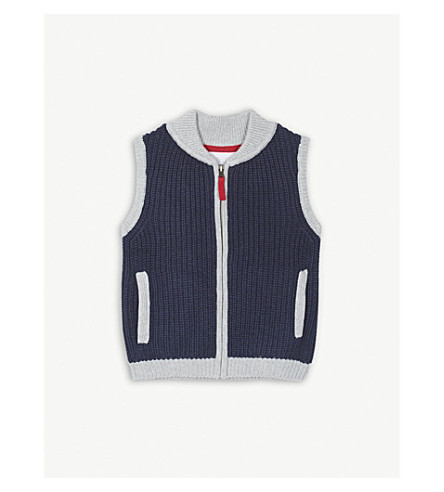 THE LITTLE WHITE COMPANY Knitted cotton gilet 1-6 years (Navy+marl