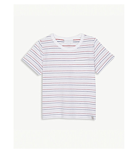 THE LITTLE WHITE COMPANY Textured stripe cotton T-shirt 1-6 years (Multi