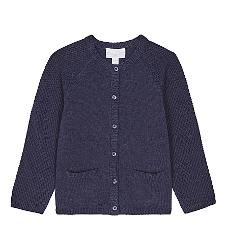 THE LITTLE WHITE COMPANY Knitted cotton cardigan 0-24 months (Mood+indigo