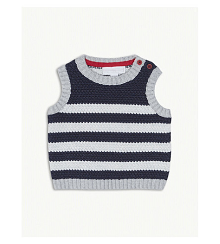 THE LITTLE WHITE COMPANY Striped knitted cotton tank top 0-24 months (Navy+&+ecru