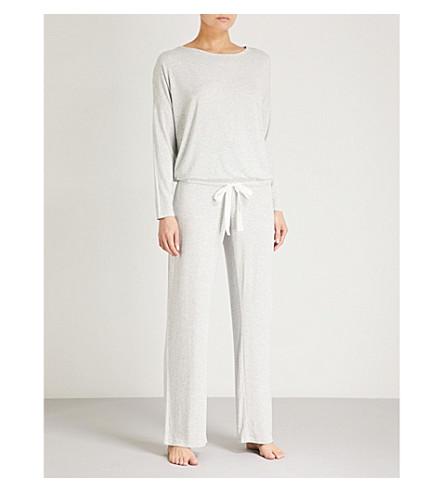 THE WHITE COMPANY Tie-detail stretch-jersey pyjama set (Silvergreymarl