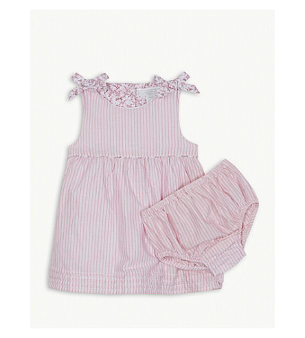 THE LITTLE WHITE COMPANY Striped cotton dress and bloomers 3-24 months (Pink