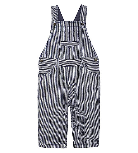 THE LITTLE WHITE COMPANY Ticking stripe cotton dungarees 0-24 months (Blue+stripe