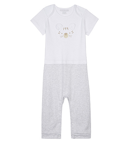 THE LITTLE WHITE COMPANY Tiger cotton sleepsuit 0-24 months (White/grey