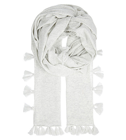 THE WHITE COMPANY Tassel cotton scarf (Cloud+marl